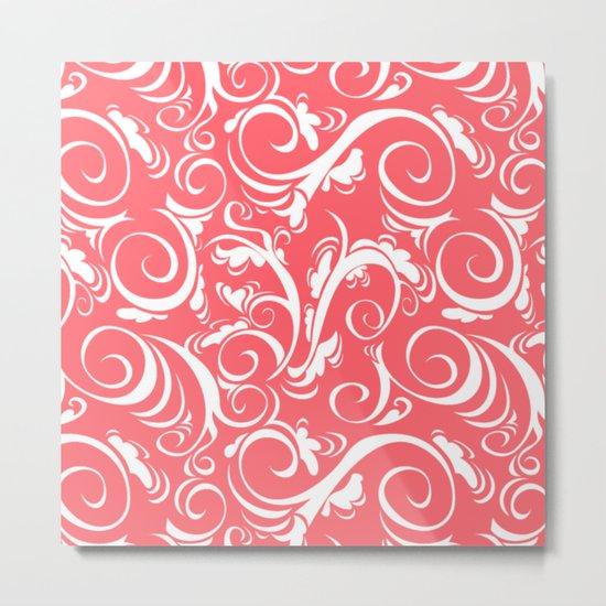 Coral Red Floral Metal Print