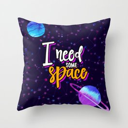 Space Neon Watercolor #3: I need some Space Throw Pillow