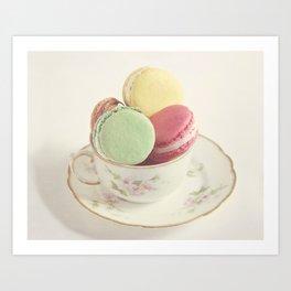 Teacup Macarons Art Print