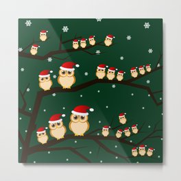 christmas owls Metal Print