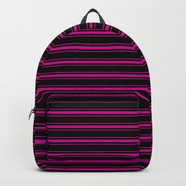 Large Black and Neon Pink Mattress Ticking Bed Stripes Backpack