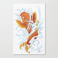 koi fish Canvas Prints featuring Koi Fish by Give me Violence