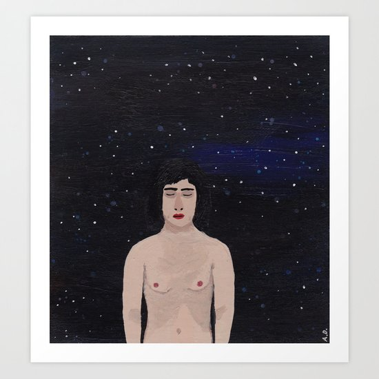 Naked in Space Art Print