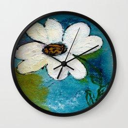 WHITE WHIMSICAL FLOWER Wall Clock