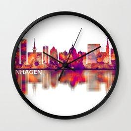 Copenhagen Denmark Skyline Violet Orange Wall Clock