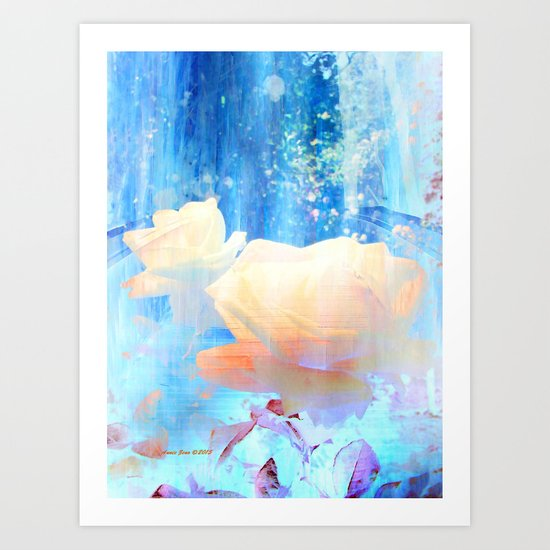 Yellow Roses By The Bridge By Annie Zeno Art Print