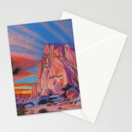Glowing Joshua Tree sunset as the climbing day draws to a close Stationery Cards