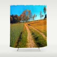 hiking Shower Curtains featuring Hiking trail following the trees by Patrick Jobst