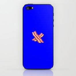 Bacon emoji on internet blue iPhone Skin