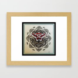 Red Moth Mandala With Border Framed Art Print