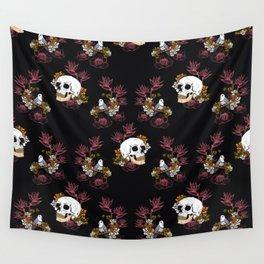 Gloomy skull, mystical bird and dark flowers pattern Wall Tapestry