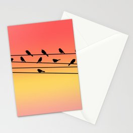 Birds on Power Lines Pink Sunset Gradient Stationery Cards