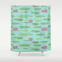 Large Vintage Florida Lily Pad Pattern Shower Curtain