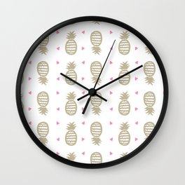 Golden pineapple pattern Wall Clock