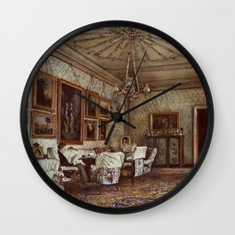 Salon In The Apartment Of Count Lanckoroński In Vienna 1881 by Rudolf von Alt | Reproduction Wall Clock