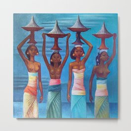 Four Balinese Girls in beautiful native dress with Offerings portrait by Miguel Covarrubias Metal Print