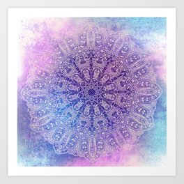 big paisley mandala in light purple Art Print