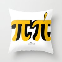 pi Throw Pillows featuring PI by bisualhart