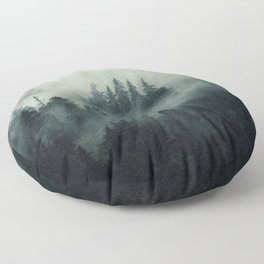 Misty pine forest on the mountain slope in a nature reserve Floor Pillow