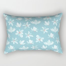 Elegant pastel blue white coral modern floral illustration Rectangular Pillow
