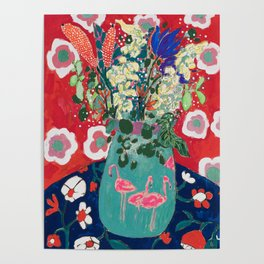 Wild Flowers in Flamingo Vase Floral Painting Poster