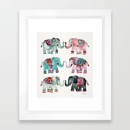 Elephant Collection – Turquoise & Coral Palette Framed Art Print