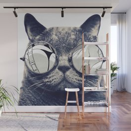 cat with glasses Wall Mural