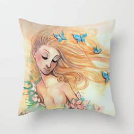 The Lady with the Butterflies Throw Pillow