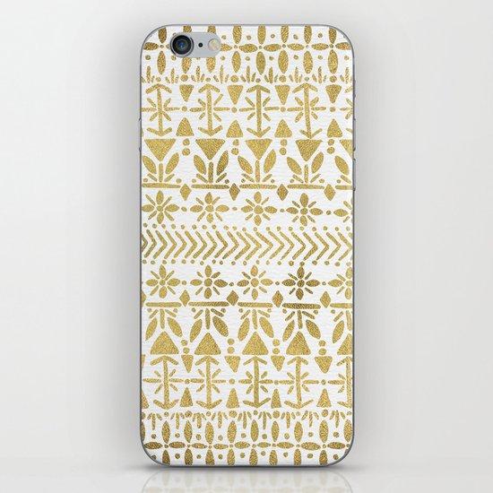 Norwegian Pattern – Gold on White iPhone Skin