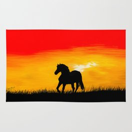 Horse At Sunset Rug