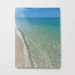 Crystal Clear Water on Barefoot Beach Metal Print