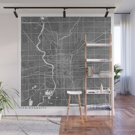 Indianapolis USA Modern Map Art Print Wall Mural