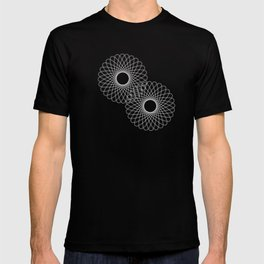 spirograph inspired pattern in white and a pale icy gray T-shirt