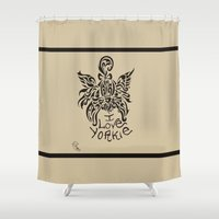 yorkie Shower Curtains featuring LOVE YORKIE by Elisa Daniele