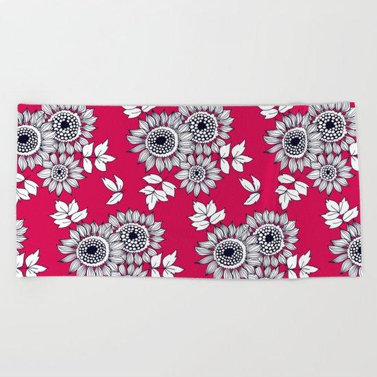 Daisy flower bouquet Beach Towel