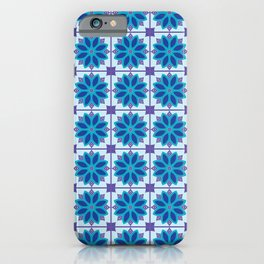 Mediterranean Tile Pattern blue and purple iPhone Case