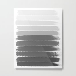 Portia - black and white gradient ombre brushstroke painting minimal art decor Metal Print