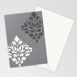Scroll Damask Art I Cream & Grays Stationery Cards