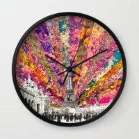 paris Wall Clocks featuring Vintage Paris by Bianca Green