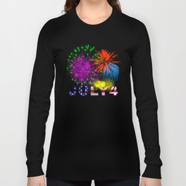 America 4th of July Fireworks Long Sleeve T-shirt