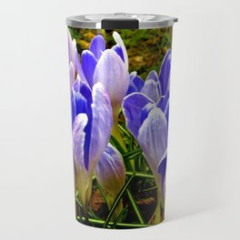 Blue Purple Crocuses Travel Mug