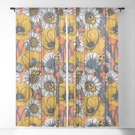 The meadow in yellow and orange Sheer Curtain
