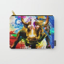 Wall Street Bull Painted Carry-All Pouch