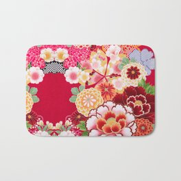 Red Floral Burst Bath Mat