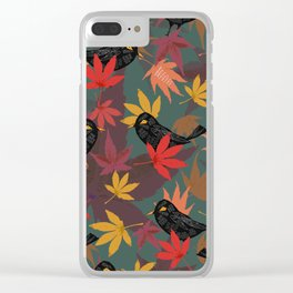 Autumn Blackbirds Clear iPhone Case