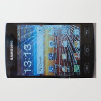 samsung Area & Throw Rugs featuring iPhone crashes Samsung by CrazyWorld