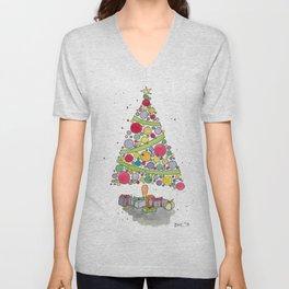 Christmas Tree Sketch Unisex V-Neck
