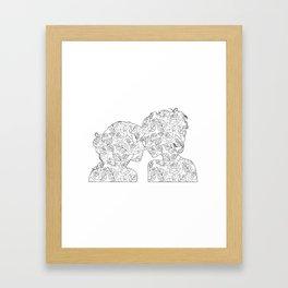 Girl kissing a girl flower Framed Art Print