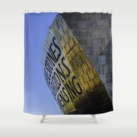 roald dahl Shower Curtains featuring Within These Stones by Steve Purnell