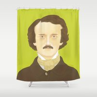 poe Shower Curtains featuring Poe-faced by Helicon Hill